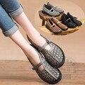 Deslizar Sobre Sapatos de Cor Pura Sapatos de Couro Oco Para Fora das Mulheres Estilo Da Tribo Sandálias Sapatos Único Respirável Leve