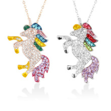 Trendy Unicorn Necklace&Pendant For Women Zircon Rhinestone Necklace Collier Femme Clavicle Chain Animal Jewelry cute crystal green fox pendant necklace for women jewelry trendy animal gold chain necklaces female clavicle accessories latest