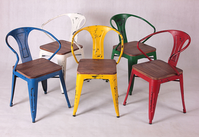 Merveilleux Doing The Old Leather Chair Backrest Loft Cafe Iron Wrought Iron Chairs  Colored Metal Stool Chair