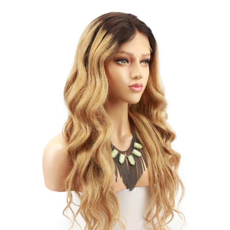 Блондинка Ombre 180 плотность 360 Кружева Фронтальная парики темные корни 1B 27 2 тона бразильский человеческих волос парик для черный Для женщин ...