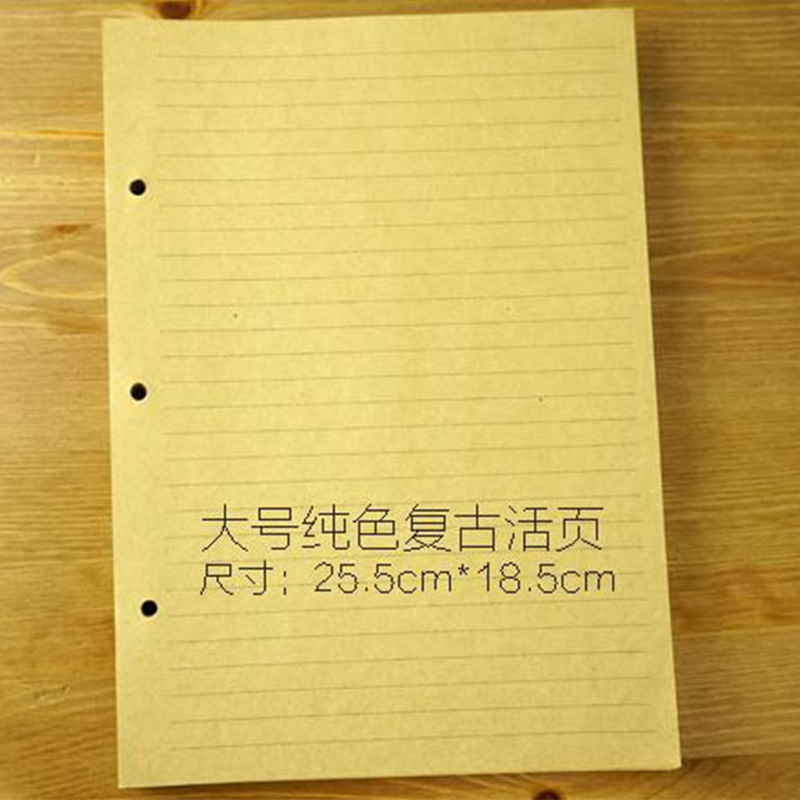 B5 style Filler papers for notebook inside page paper 3 holes on paper kraft quality 60 sheets blank and transerve line style standard a5 style leather notebook inside loose leaf page have 6 hole on page paper insde 60 pcs quality kraft blank page