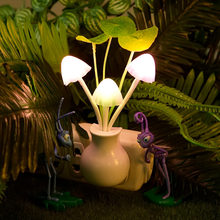 Romantic Colorful LED Mushroom Night Light Bed Lamp Home Illumination Light sensor automatic startup