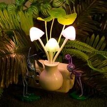 Romantische Kleurrijke LED Paddestoel Nachtlampje Bed Lamp Thuis Verlichting Licht sensor automatisch opstarten