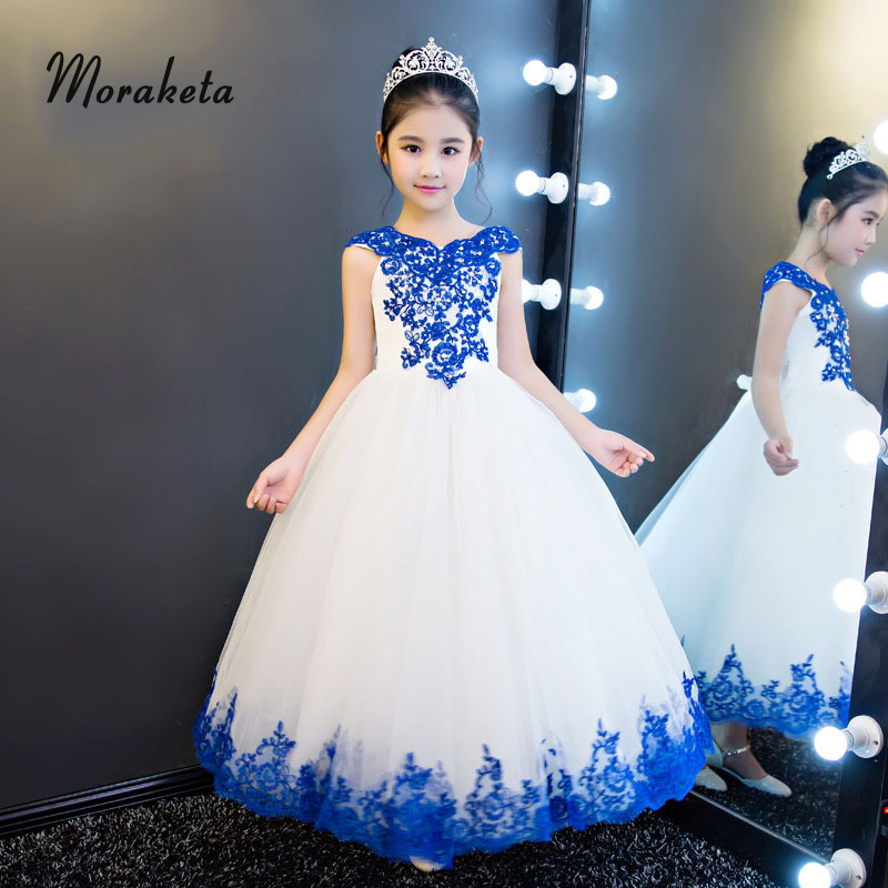 Boat Neck Off The Shoulder Floor-Length   Girls   Pageant   Dresses   2019 Ball Gown White Long   Flower     Girl     Dresses   With Blue Appliques