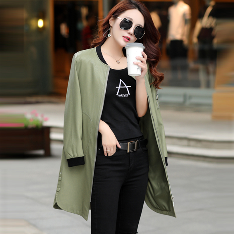 Japanese Style Fashion brief   leather   jacket female Long design Round collar single   leather   Street outerwear Woman   Suede   Coat