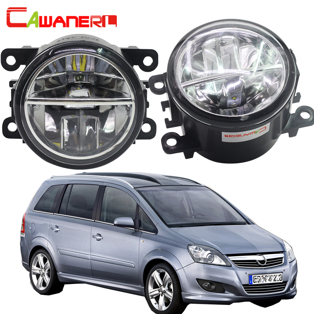 Cawanerl For Opel Zafira B MPV A05 2005-2011 Car Styling LED Fog Light Bulb 4000LM/Set White 6000K Daytime Running Lamp DRL 12V eemrke car styling for opel zafira opc 2005 2011 2 in 1 led fog light lamp drl with lens daytime running lights