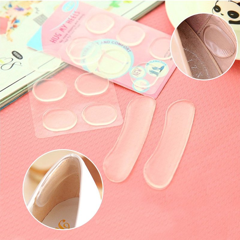 1Pair Woman Shoes Sticker Transparent Silicone High Heels Sandals Protector Prevent Rub Pain Heel Grips Invisible Insole OH66