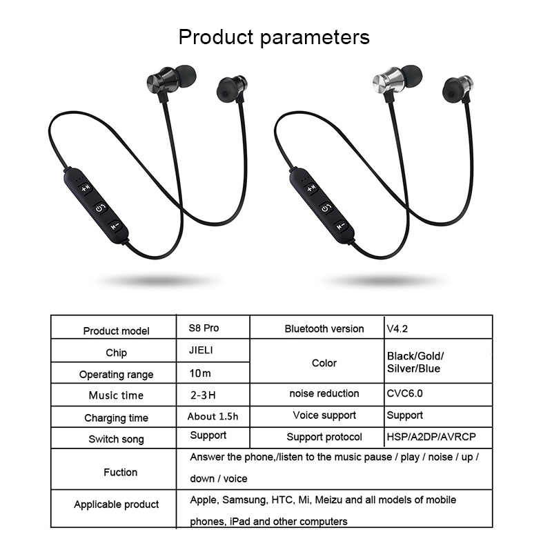 Magnetic Nirkabel Bluetooth Earphone XT 11 Bass Stereo Headset Sport Menjalankan In-Ear Sweatproof Headphone dengan MIC Earpiece 2019