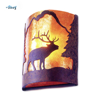 American Vintage Wall Light for dining room bar Elk/Wolf/Bear Pattern E14 Led Industrial Wall Lamp Retro Living Room Decoration