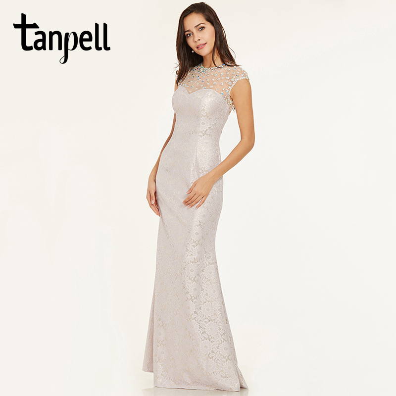 Tanpell beaded lace   evening     dresses   ivory scoop neck cap sleeves floor length gown cheap women prom formal long   evening     dress