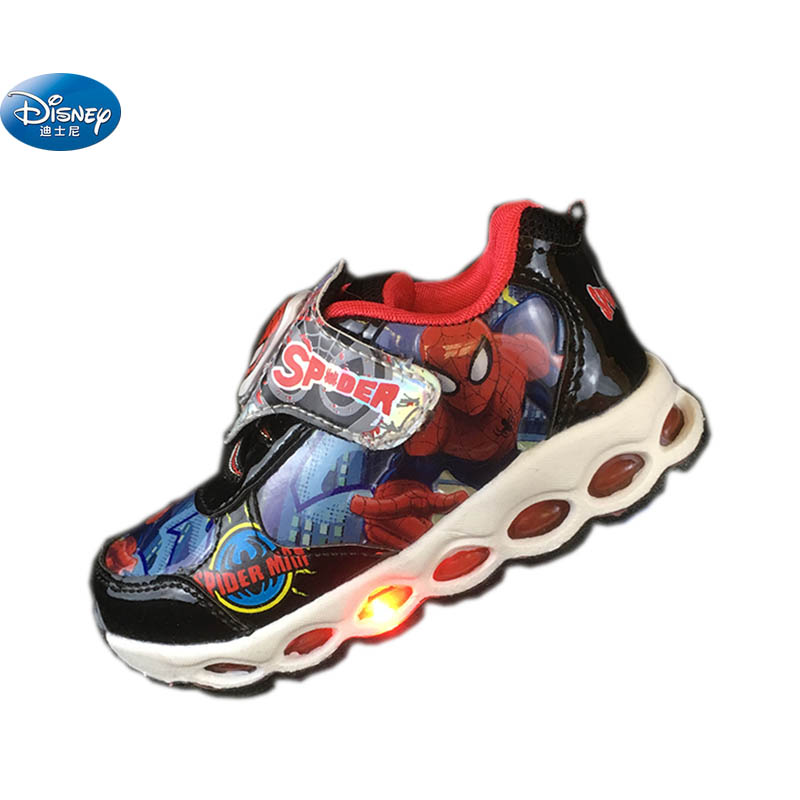 Disney Spider-Man chaussures décontractées printemps été lumières flash LED 2108 garçons dessin animé école étudiant Sneaker Europe taille 22-33