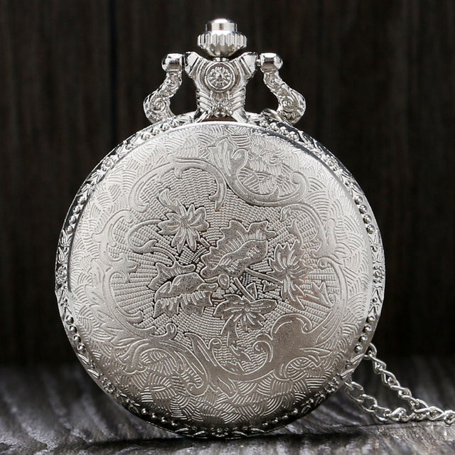 Vintage Silver Charming Train Carved Hollow Steampunk Quartz Pocket Watch Men Women Necklace Pendant Clock Gift Dropshipping