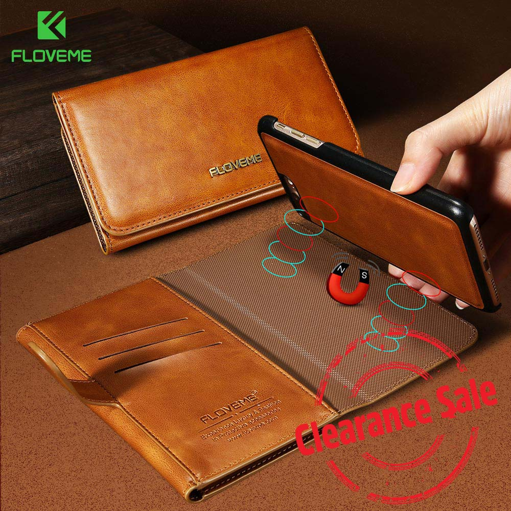 FLOVEME Flip Leather Case For iPhone X Magnetic Wallet Bag  Luxurious Adsorption PU Phone