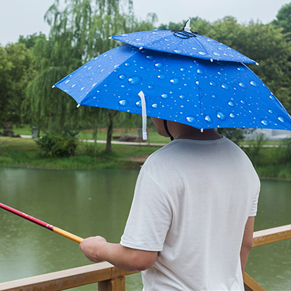 2019 Portable Foldable Umbrella Double Fishing Hat for Hiking Camping Head Hats Outdoor Sports Rain Cap
