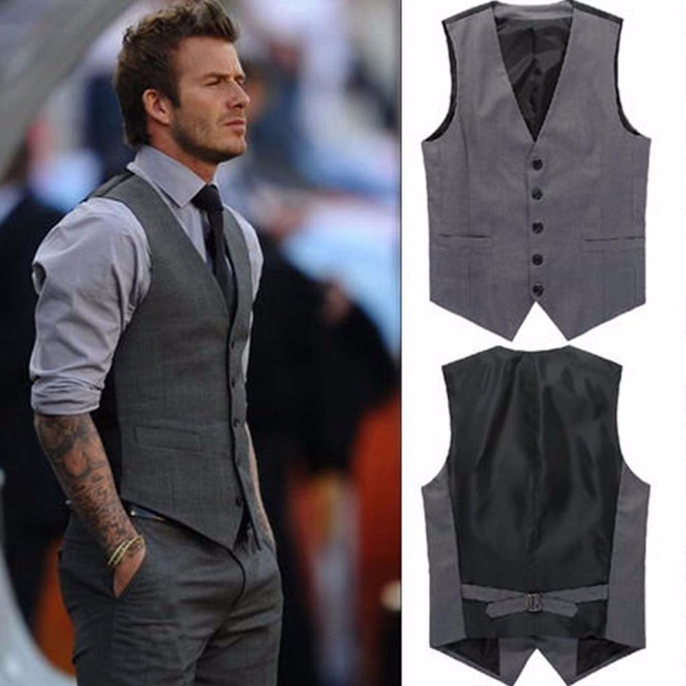 Suit Vest Business-Suits Wedding-Dress Groom Men/black Grey And Goods Slim Pure-Cot High-End