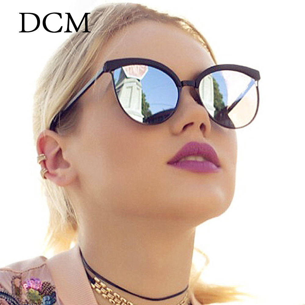 DCM Newest Cat Eye Sunglasses Women Fashion Brand Designer Mirror Lens Cateye Sun Glasses For Female UV400