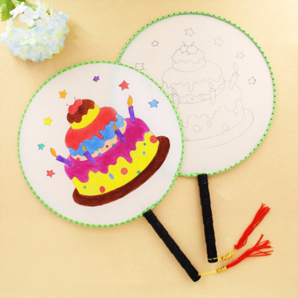 24cm Summer Elegant Round Hand Paddle Fan Cake Pattern White Cloth Painting