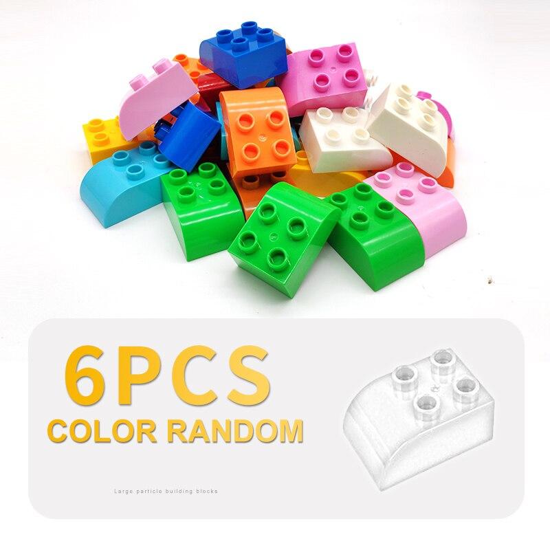 6pcs Tijolos Básicos 2x2 Dots buraco dobrar Grandes Conjuntos de Blocos de Construção Clássico Dom Brinquedos Criança Diy Acessório compatível Com Duplo