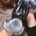 1 Pair 2016  And Warm And Elegant Faux Rabbit Fur PU Leather Gloves For Winter Gloves Brand Mitten Women Gloves