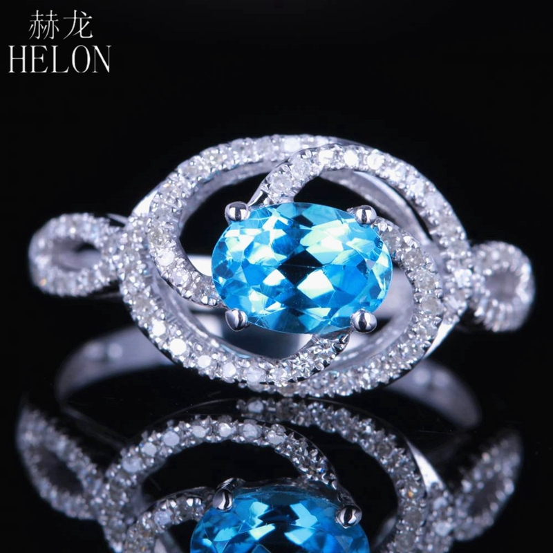 HELON Solid 14K White Gold Flawless Oval 7x5mm 0.65ct Blue Topaz Gemstone Diamonds Ring Wedding Anniversary Trendy Jewelry Ring