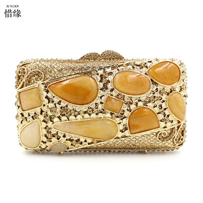 XI YUAN BRAND Luxury Handmade Evening Bag gem Beaded Clutch Purse Diamonds women Party Shoulder bags Handbags Bridal Clutches