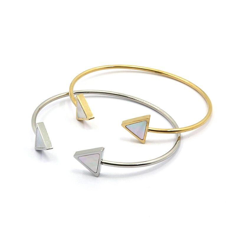Retro Stilvolle Offene Armreif mit Doppel Dreieck Metall Gold Tone ...