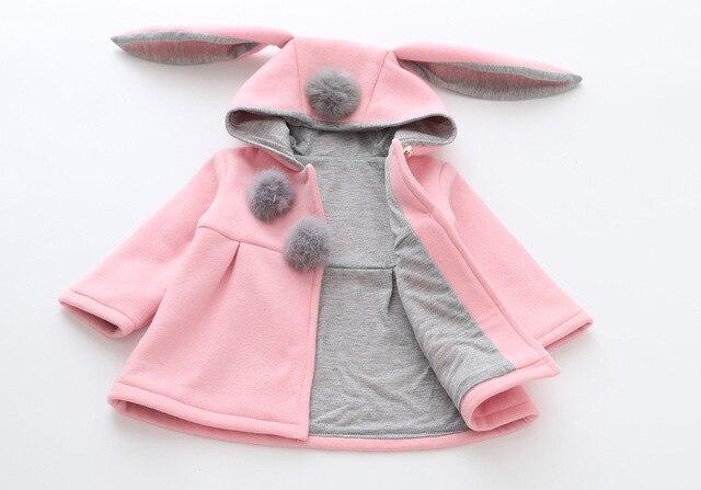 ec80abb29dca Cute Rabbit Ear Hooded Girls Coats New Spring Top Autumn Winter Warm Kids  Jacket Outerwear Children Clothing Baby Tops Girl Coat