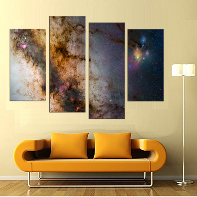4 Panels (No Frame) Abstract nebula Painting Canvas Wall Art Picture ...