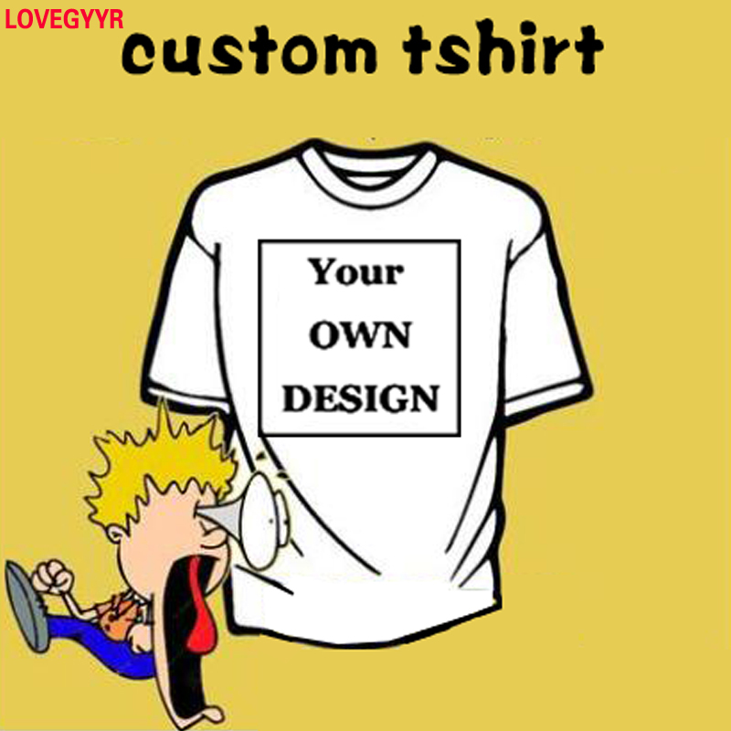 Men DIY Custom Logo Photo Text Printed T-shirt Your Brand OWN Design Male Customized Made Personalized Tshirts Company Team Tops