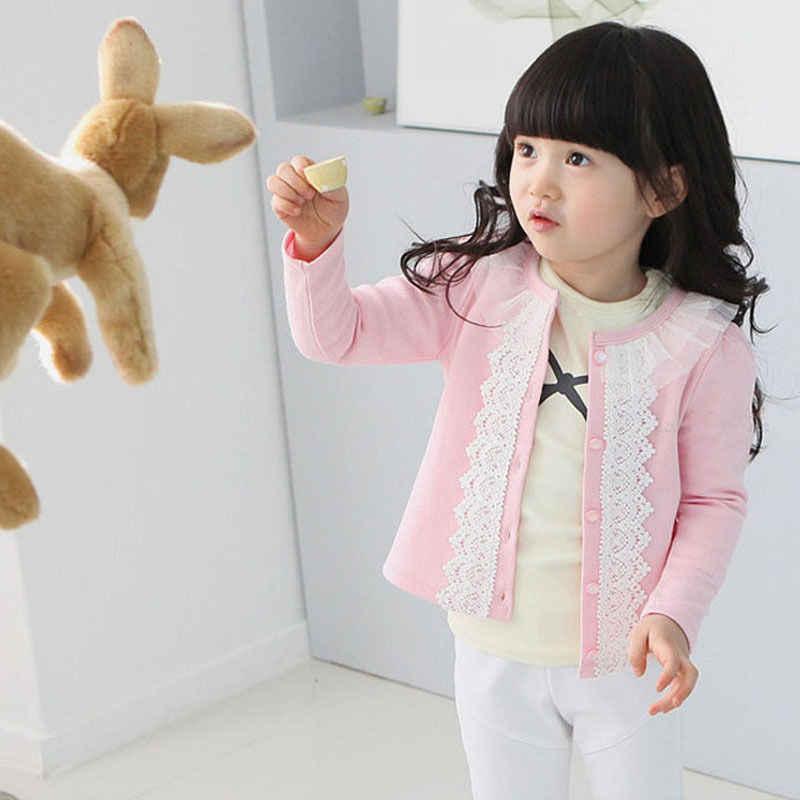 קרדיגן תינוק סתיו שרוול ארוך מעיל מעיל בנות ילדים להאריך ימים יותר מעיל טלאי תחרה בגדי תינוקת Outffit