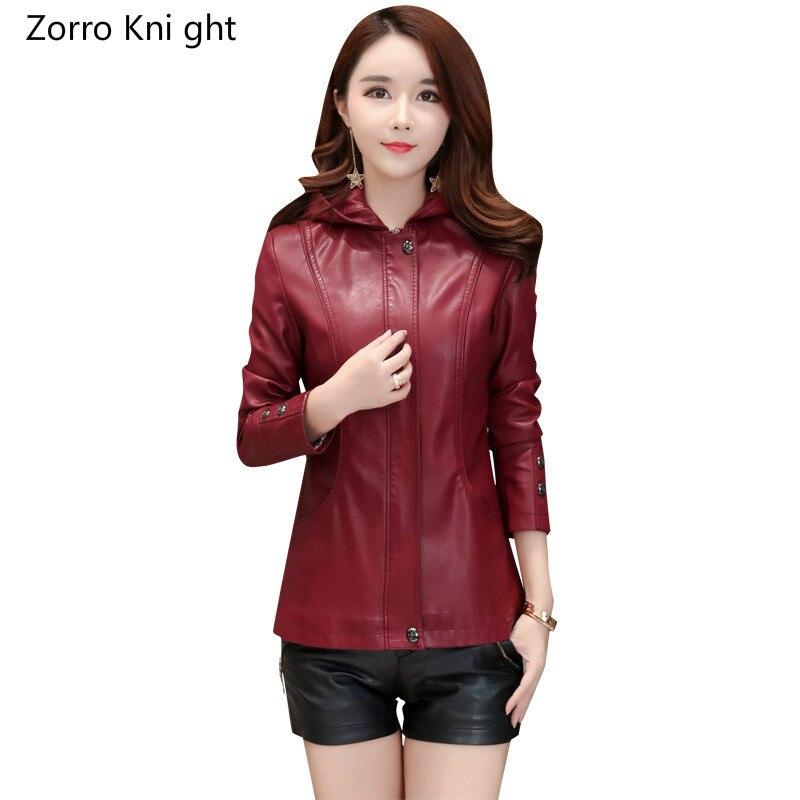 Black Plus Size S 5XL Fashion 2018 Autumn Winter Women Leather Coat Female Slim Short Leather