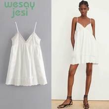 2019 summer dress women vestidos spaghetti strap embroiedry white sexy mini de fiesta party