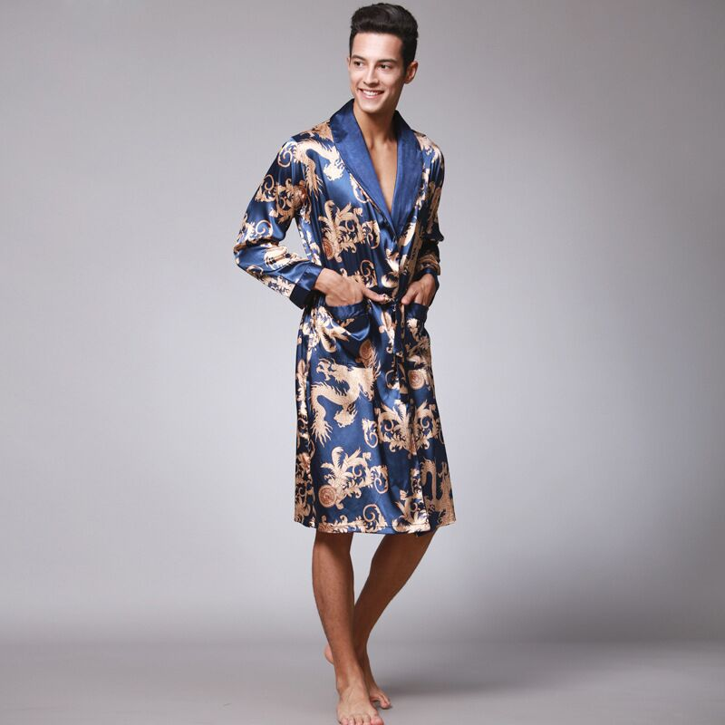 Mens Robe Long Sleeves Men's Satin Silk Robe Chinese Print Dragon Kimono Bath Gown Summer Long Bathrobe Night Dressing Gown