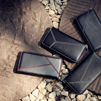 OZUKO 2018 New Handmade Genuine Leather Men Wallets Luxury Brand Coin card Holder Cowhide Purse Fashion Male Women Clutch Bag