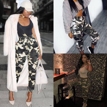 55b5dba94efb9 2018 Summer New Style Fashion Women Camo Cargo Trousers Casual Pants  Military Army Combat Camouflage Jeans