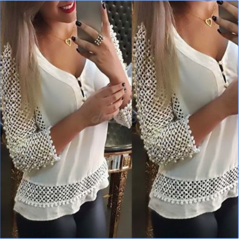 Sale Ladies White Loose V-Neck Casual Hollow Out Chiffon Blouse