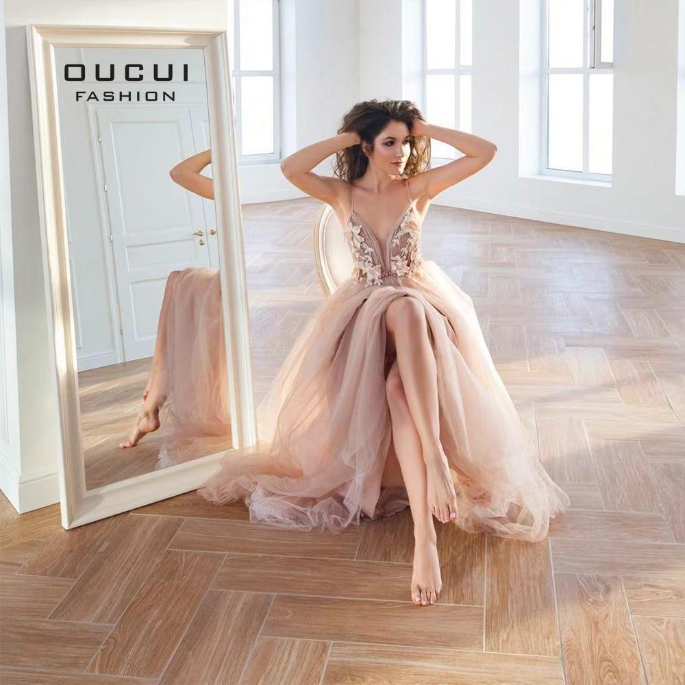 77c371663a71d Sexy V Neck Robe De Soiree Longue 2019 Evening Dresses Long A-Line Lace 3D  Flower Prom Dress Special ...