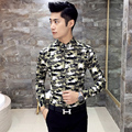 2016 New Autumn Camouflage Shirt Male Long Sleeve Printed Shirt Wedding Baroque Shirt Slim Fit Chemise Homme M-2XL  Party Shirt