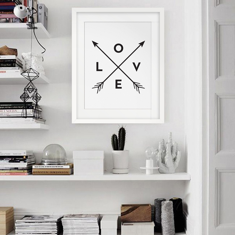 Arrow Love Print, Black and White Wall Art, Art Decor, Modern Poster Canvas Printings Cuadros no frame