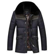 2016 New Brand Men Winter Duck Down Jacket Mens Coat Parkas With Fox Fur Collar Patchwork Jackets Cappotto Plus Size