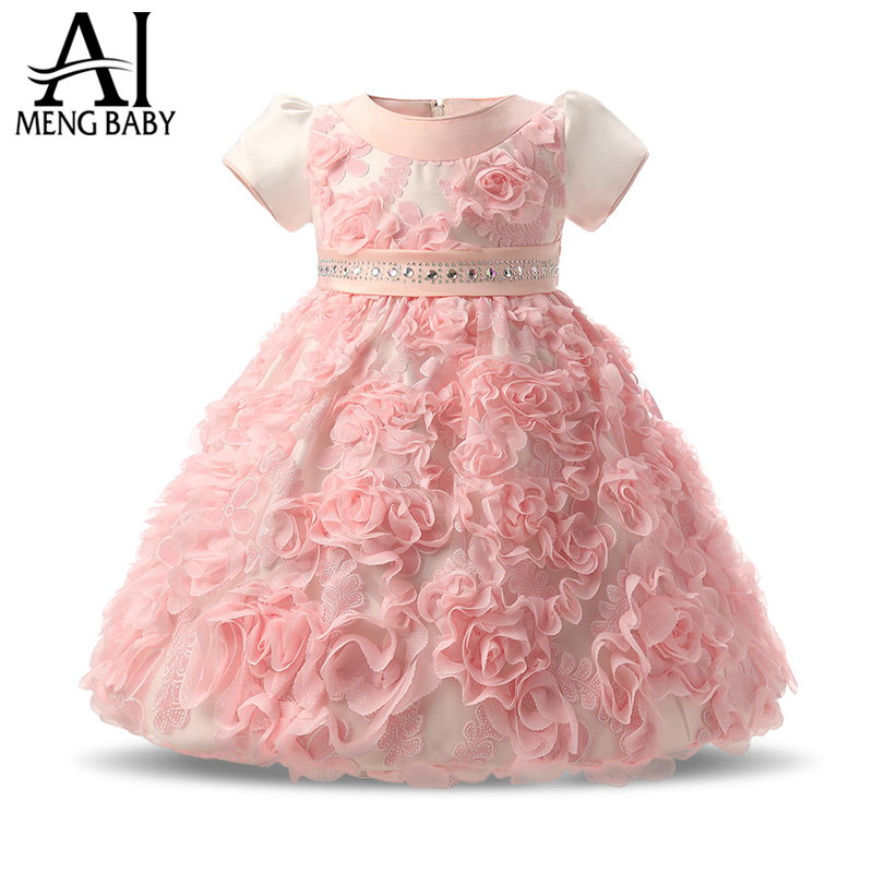Newborn Baby Girl Christmas Dress Little Bridesmaid Dress Christening -7280