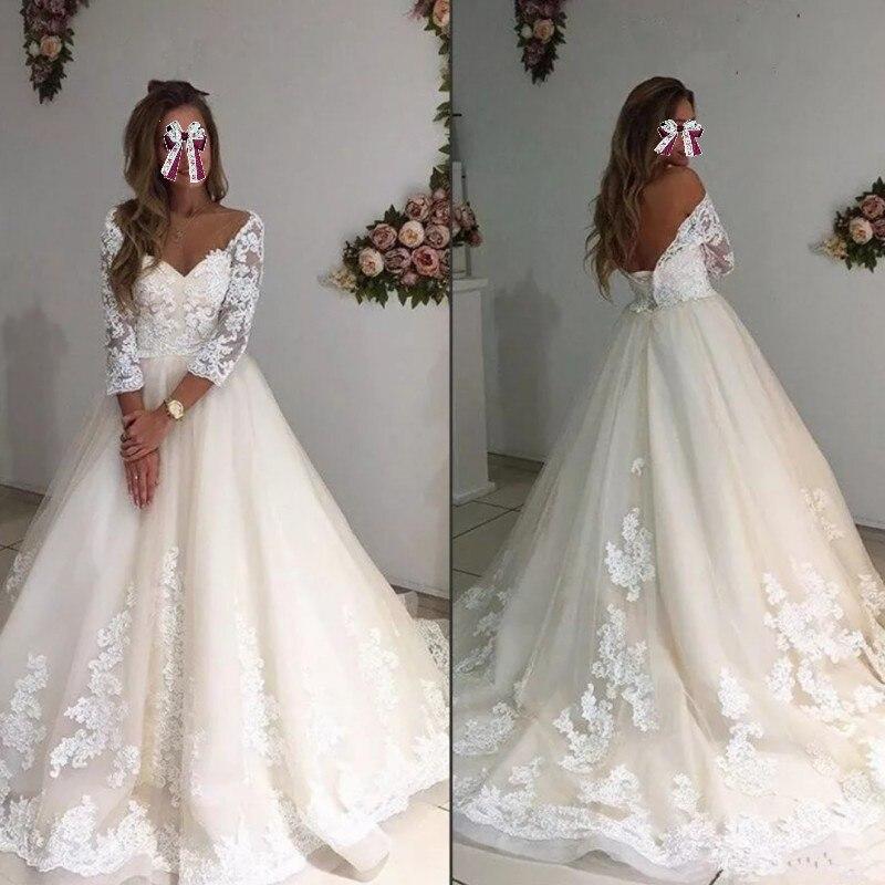 33d21449f6 US $134.85 7% OFF|Saudi Arabia Formal Party Dress Beige A Line Long Evening  Dresses robe de soiree Puffy Appliques Evening Gowns Vestido De Festa-in ...
