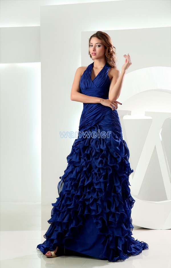 free shipping famous maxi 2013 <font><b>sex</b></font> hanging neck chiffon halter new arrival mermaid plus size sexy pleated sequin <font><b>evening</b></font> <font><b>dresses</b></font> image