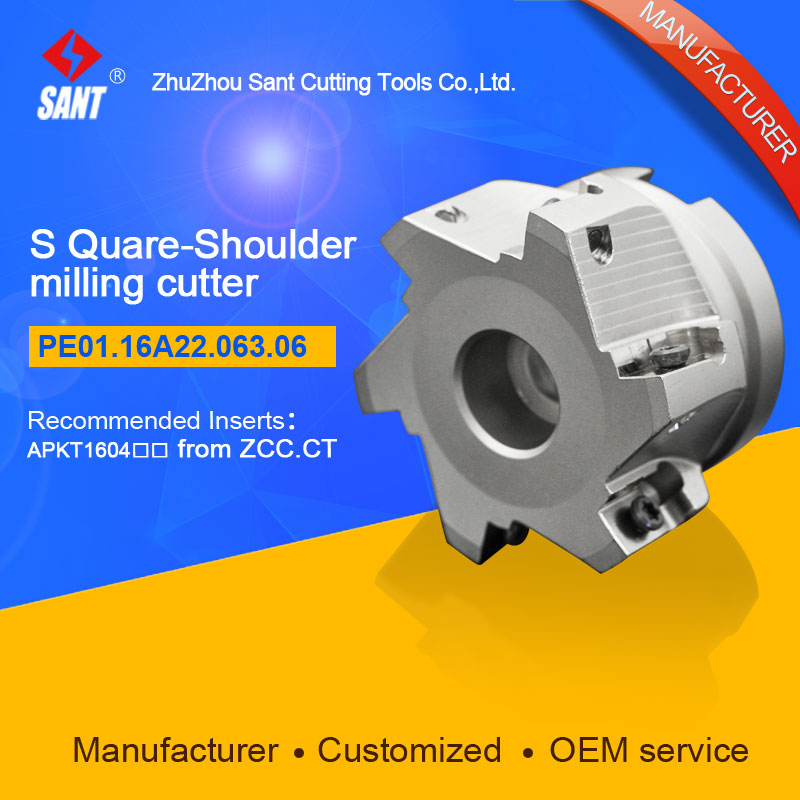 Zhuzhou Sant Indexable milling cutter with 90degree EMP02-063-A22-AP16-06/PE01.16A22.063.06 Mached carbide insert APKT160408 запонки marc sant 16 b 1101 20 e
