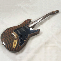 39 inch Divided Zebra Wood ST Electric Guitar Zebra Lute, Zebra Lute Head, Zebra Wood Fingerboard, Black Shield
