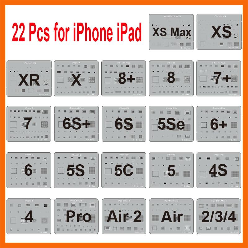Hot 22pcs/lot IC Chip BGA Reballing Stencil Kits Set Solder Template For Iphone XS Max XR X 8 7 6s 6 Plus SE 5S IPad Motherboard