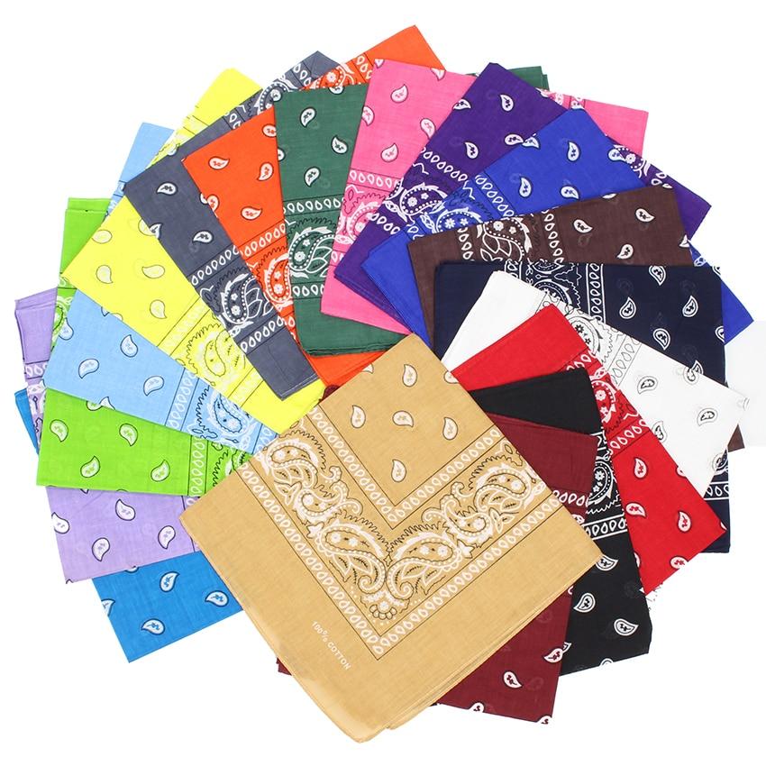 Newest Head Scarf 100% Cotton Hip Hop Bandana Women/Men/Boys/Girls 55cm*55cm Black Red Scarves Wristband Small Square Scarf