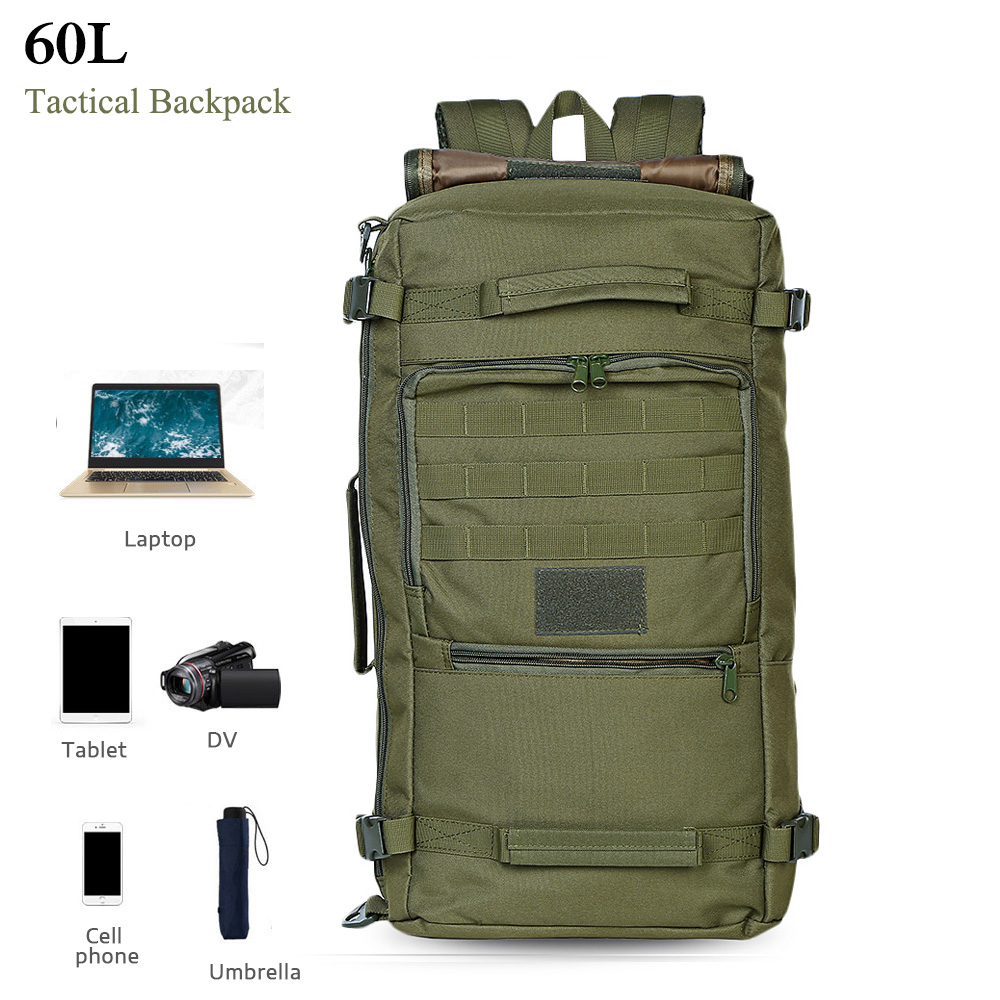 60L Military Tactical Bag Hunting Camping Laptop Molle Backpack Oxford Nylon Waterproof Military Backpack Sport Bag for Outdoor excellent elite spanker waterproof military tactical backpack hunting accessories sport bag molle tactical pouch hunting bag