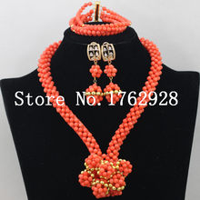 2016 Fantastic African Jewelry Set Nigerian Wedding Party Natural Coral Beads Jewelry Set Wholesale Free Shipping C004516(China)