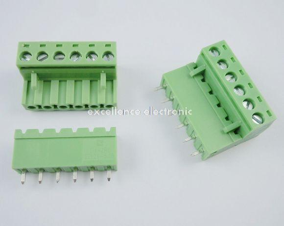 5Pcs 5.08mm Pitch Right Angle 6 pin 6 way Screw Terminal Block Plug Connector
